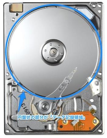 ハードディスクを開封して、内部のデータ記録領域とヘッド部分が見えている写真。クラスターエラーの説明に使用。