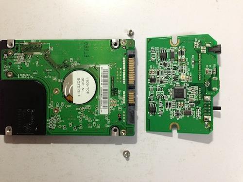 HD-PSUG2のHDDのネジが外せたところ2