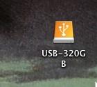 320GBのUSB接続の外付HDDを接続して、マウントした状態がMacのデスクトップに表示されている