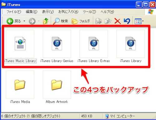 バックアップ対象のiTunesの設定ファイル4つ、iTunes Music Library、iTubes Library Genius、iTunes Library Extras、iTunes Library