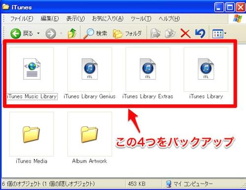 バックアップ対象のiTunesの設定ファイル4つ、iTunes Music Library、iTubes Library Genius、iTunes Library Extras、iTunes Library