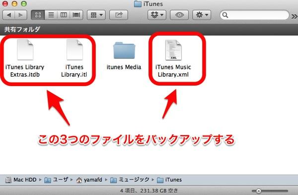 バックアップ対象のiTunesの設定ファイル3つ、iTunes Library Extras.itdb、iTunes Library.itl、iTunes Music Library.xml