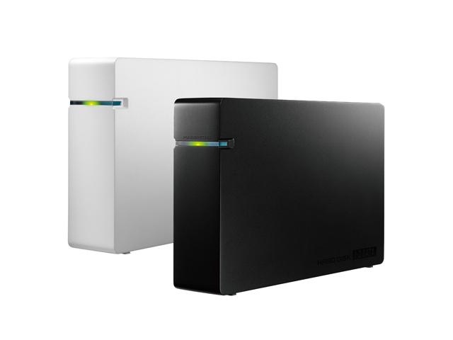 IOデータのUSB外付けHDDのAVHD-UVシリーズ斜め前から