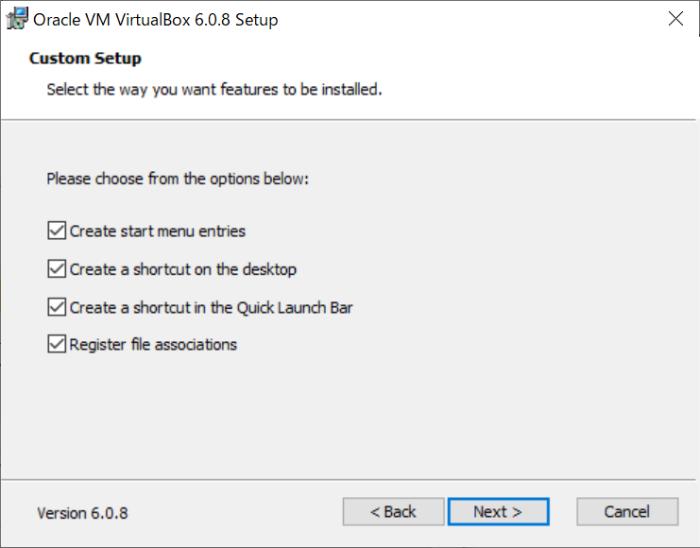 VirtualBoxのオプション