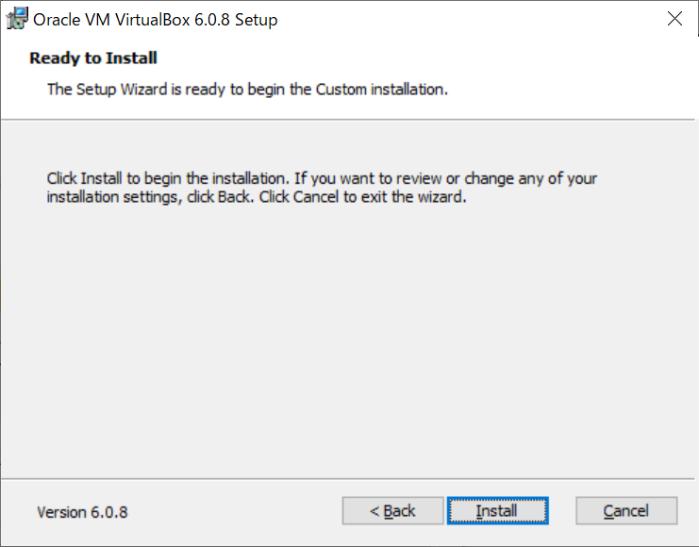 VirtualBoxのインストールの最終確認